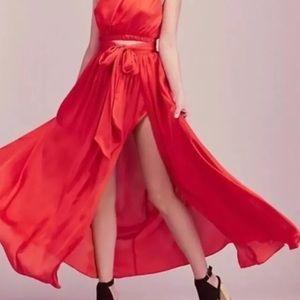 NWOT Free People red wrap maxi satin skirt